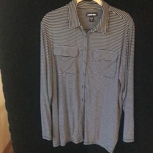 Ladies navy and white striped knit shirt